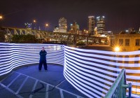 pixelstick with downtown pittsburgh in the background