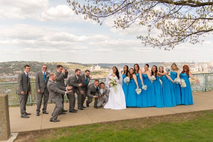 goofy wedding party photo