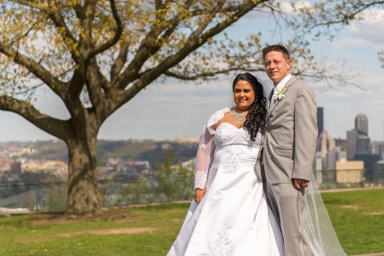 bride and groom overlooking pittsburgh