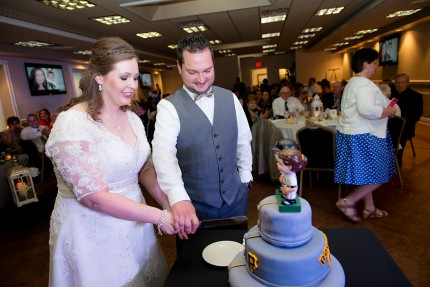 boiler room bride cutting cake